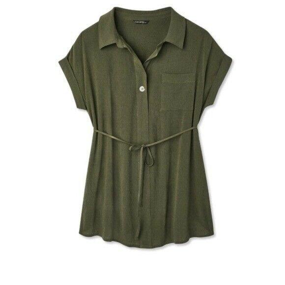NWT Green Woven Button Up Shirt Maternity XL